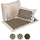 Ajna Acupressure Mat and Pillow Set - Natural Organic Linen Cotton Acupuncture Mat & Bag - Back Pain Relief, Neck Pain Relief