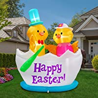 5FT Inflatable Easter Decorations Chicks in Egg Boat Indoor Outdoor Home Yard Lawn Garden Party