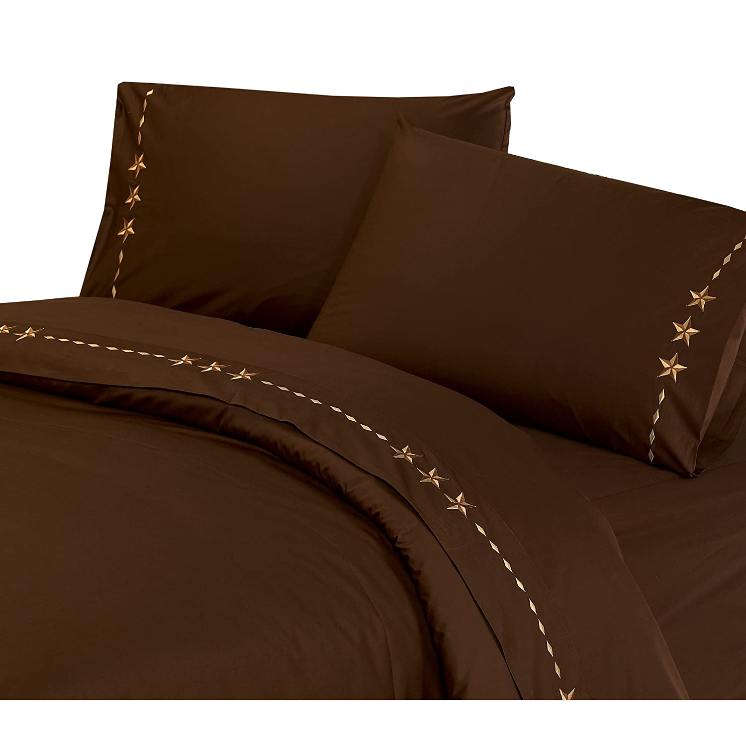 HiEnd Accents Western Embroidered Star Sheet Set Twin Chocolate