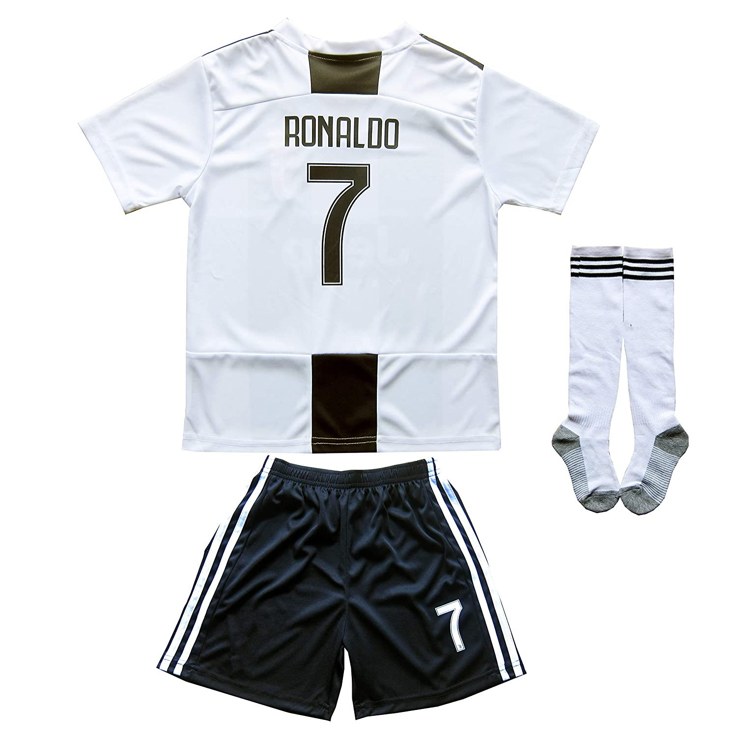 FCRM 2018//2019 New #7 Cristiano Ronaldo Kids Home Soccer Jersey /& Shorts Youth Sizes