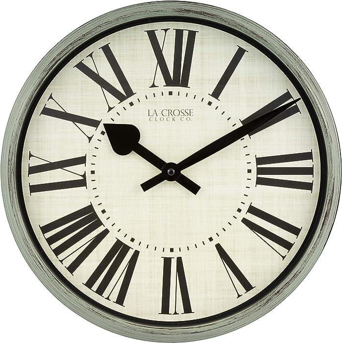 "La Crosse Technology 404-3036G 14"" Sage Grove Quartz Wall Clock, Green"