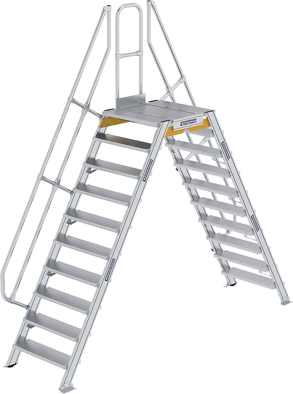 GÜNZBURGER STEIGTECHNIK Escalera de aluminio 60° estacionaria o móvil de 10 escalones: Amazon.es: Bricolaje y herramientas