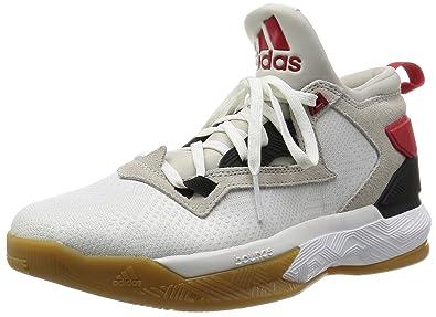 scarpe adidas da basket nere con suola rossa e nera