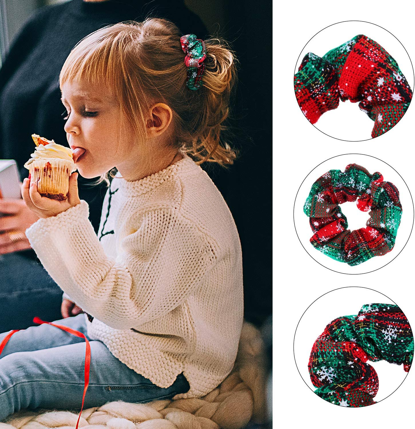 10 Pieces Christmas Headband with Knot Design Red Plaid and Snow Print Headband Hair Band Headband Headwear Christmas Hair Scrunchies Hair Accessories for Women and Girls