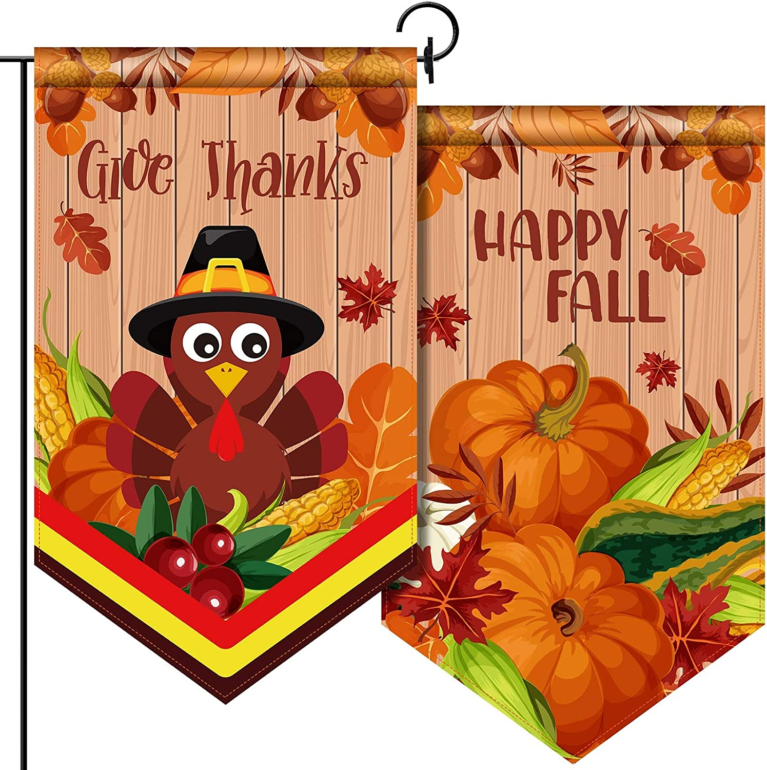 Fall Thanksgiving Garden Flag Double-Sided Decorative Fabric House Flag Happy Fall Welcome Flag Funny Turkey Pumpkin Yard Decorations for Give Thanks Outdoor Decor Party Favors, 12.6 x 21.7 Inch