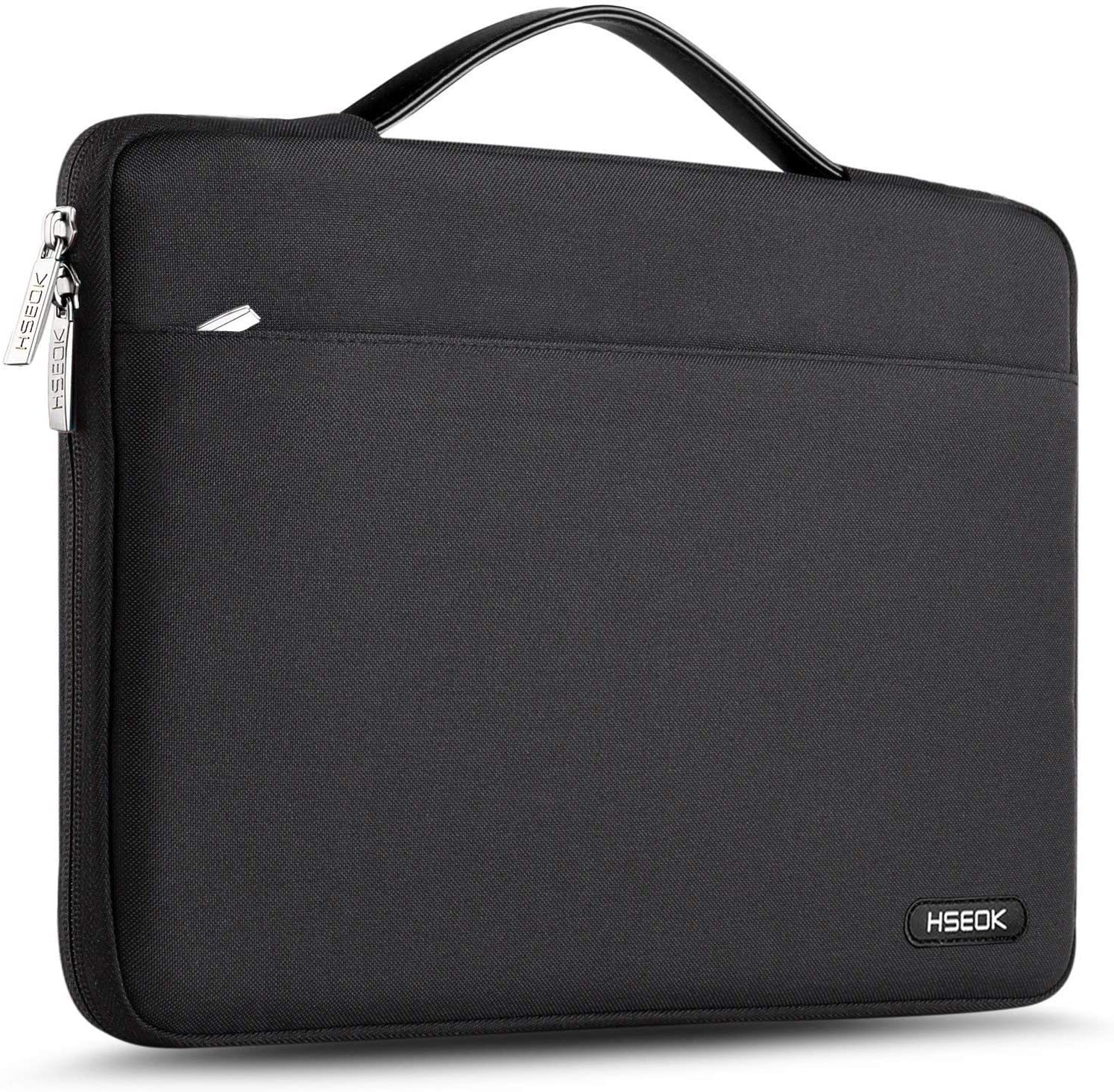 Hseok Laptop Sleeve 15 15.6 16 Inch Case Briefcase, Compatible MacBook Pro 16 15.4 inch, Surface Book 2/1 15 inch Spill-Resistant Handbag For Most Popular 15-16 inch Notebooks, Deep Black