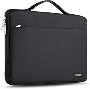 """Hseok Laptop Sleeve 13-13.5 Inch Case Briefcase, Compatible All Model of 13.3 Inch MacBook Air/Pro, XPS 13, Surface Book 13.5"""" Spill-Resistant Handbag for Most Popular 13""""-13.5"""" Notebooks, Deep Black"""