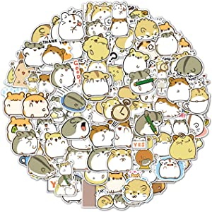 100PCS Hamster Stickers Japanese Sanrio Stickers Cute Animal Stickers Kawaii Laptop Stickers Vinyl Waterproof Stickers for Water Bottles Luggage Skateboard Decor