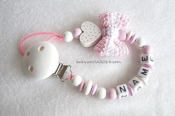 Schnullerkette mit Namen Schleife Herz Mädchen Farbwahl: Amazon.de: Baby