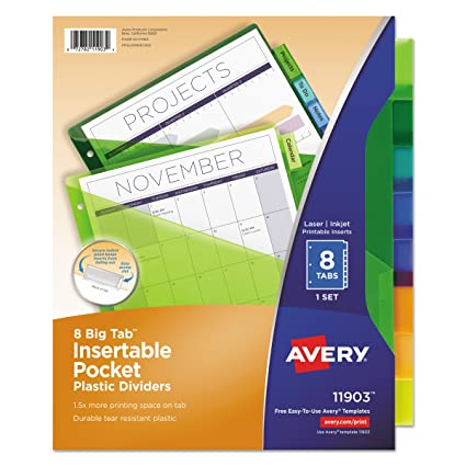 Amazon avery 11903 insertable big tab plastic dividers w avery 11903 insertable big tab plastic dividers wsingle pockets 8 tab reheart Gallery