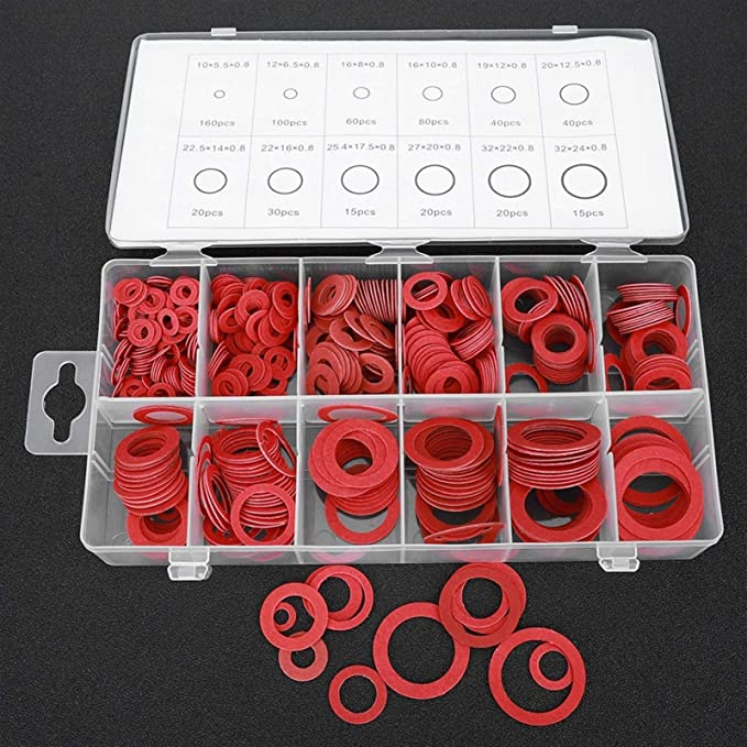 Qwsx Reibung Verringern 600pcs Red Vulkanfiber Washer Dichtung Runde Isolierung Papier Red Steel Papier Scheiben Sortiment Kits Verwenden Küche Haushalt