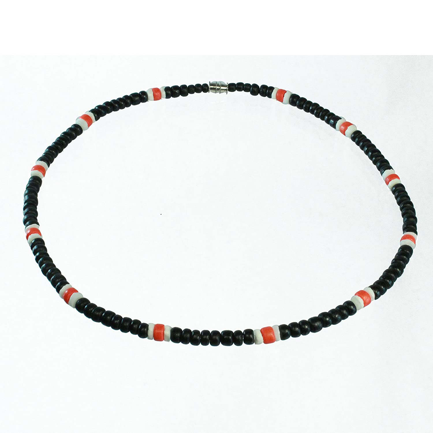 Black Coco Bead Hawaiian Surfer Necklace with White Puka Shell and Orange Coco Bead Accents, Barrel Lock