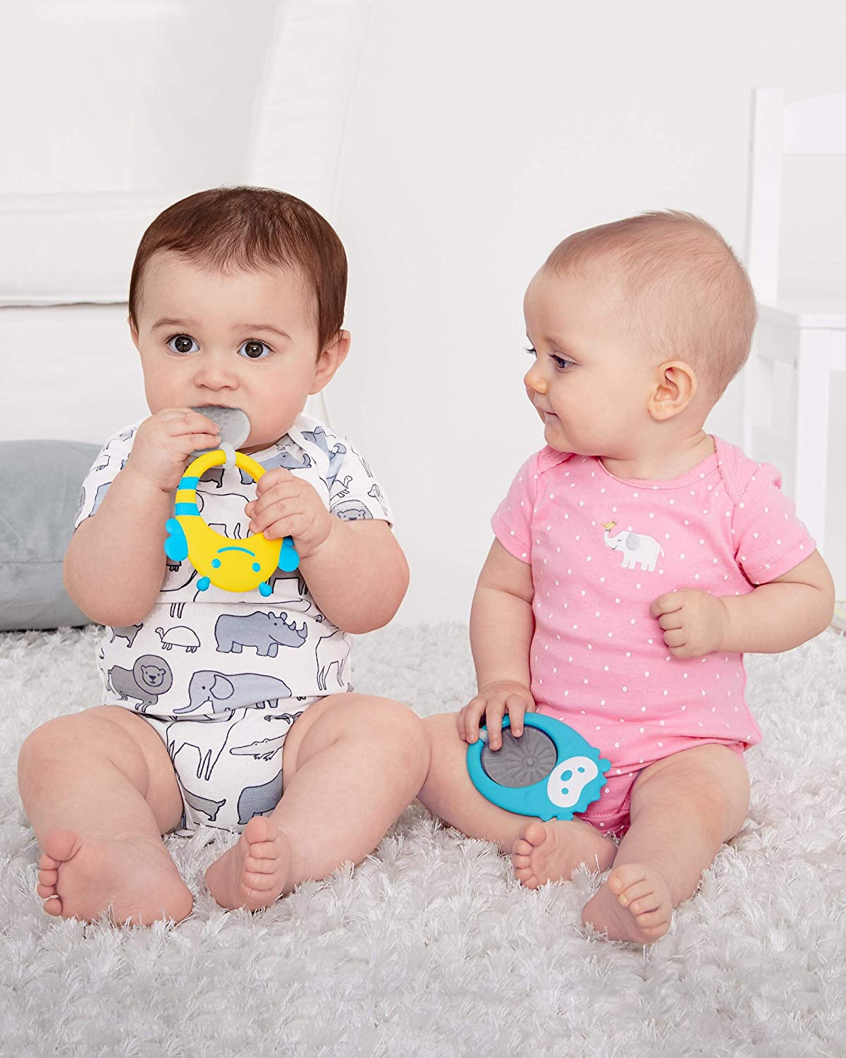 BPA-Free and Freezer Safe Silicone Coated Baby Teether Skip Hop Stay Cool Teether Bee