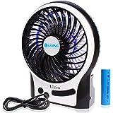 Qidianliang Portable Rechargeable Personal Fan, 3 Speeds Desk Table fan, Mini USB Fan for Laptop/Desktop, Outdoor Small Fan with LED Light