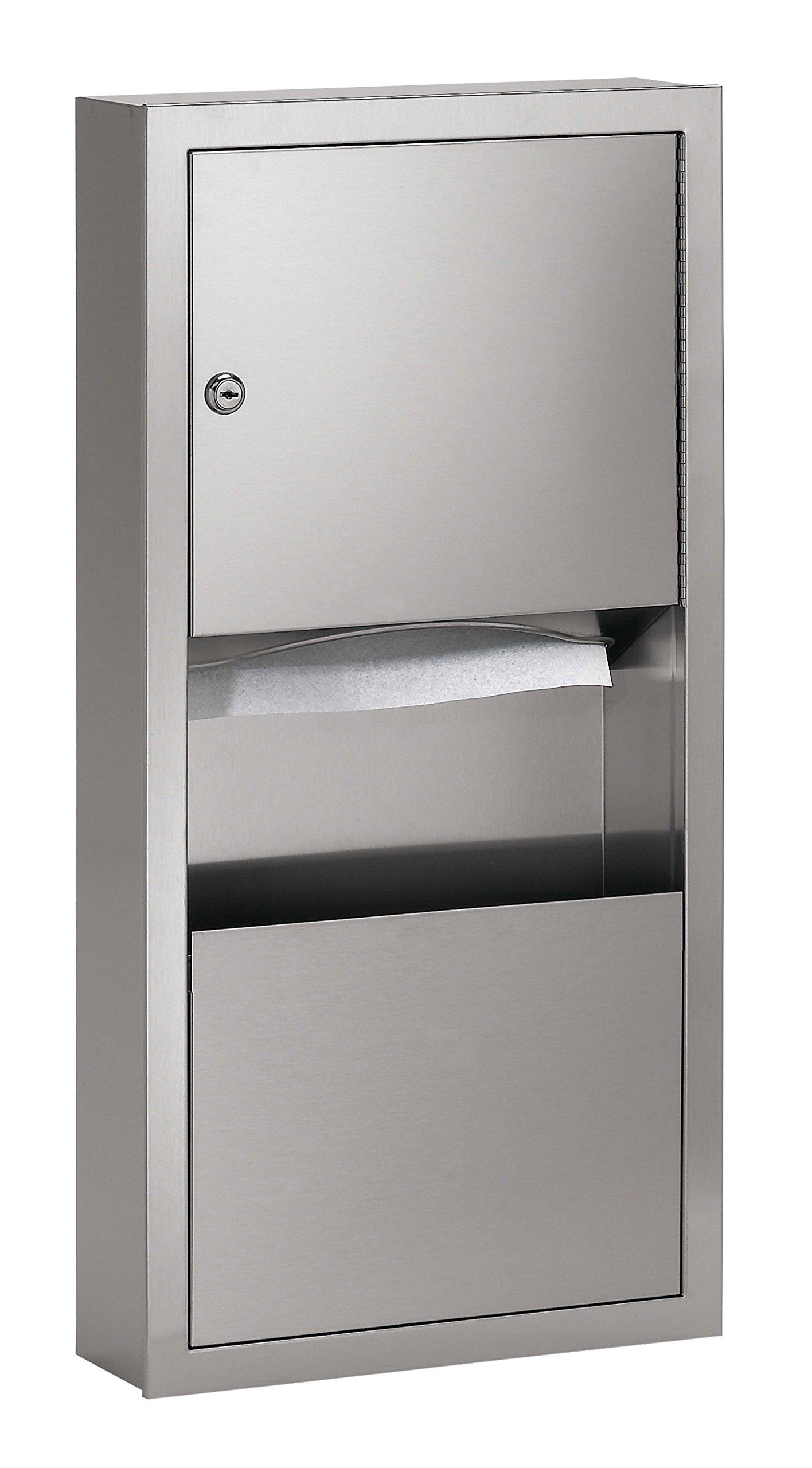 Bradley 2291-000000 Standard Stainless Steel Recessed Mounted Towel Dispenser/Waste Receptacle, 14'' Width x 28'' Height x 4'' Depth by Bradley