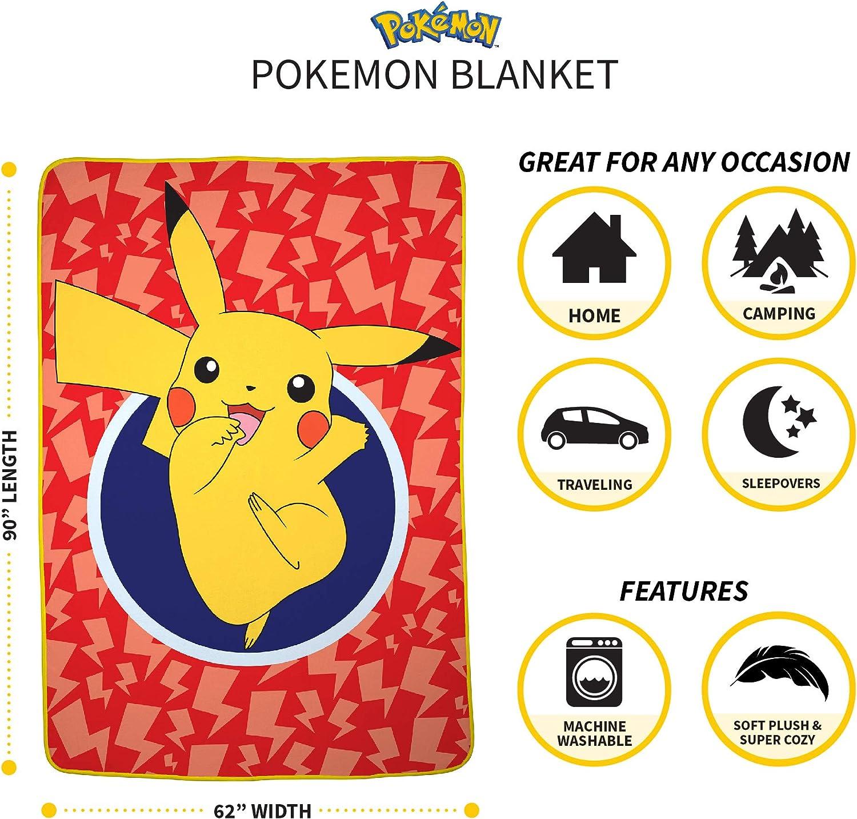 Amazon.com: Pokemon Pikachu - Manta de microfibra suave para ...