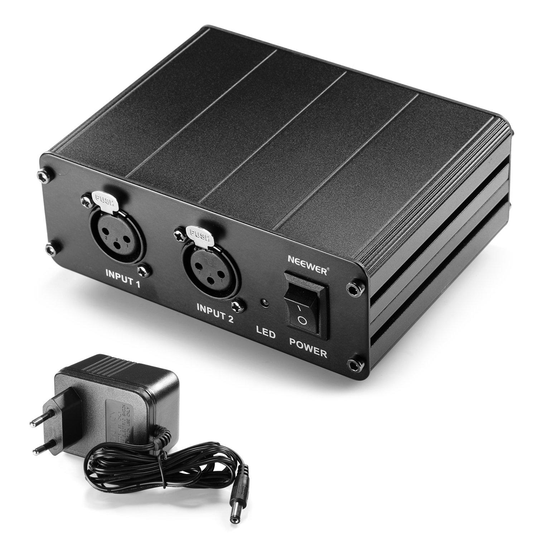 Neewer® 2 Canaux 48V Alimentation Fantôme avec Adaptateur Secteur pour Microphones à Condensateur, Transfert Signal Sonore à la Carte Son Externe 40087551