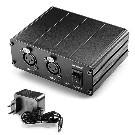 Neewer® 2-Canal 48V Phantom Fuente de Alimentación con Adaptador de Energía para Micrófonos de Condensador, Transferencia de Señales de Sonido a ...