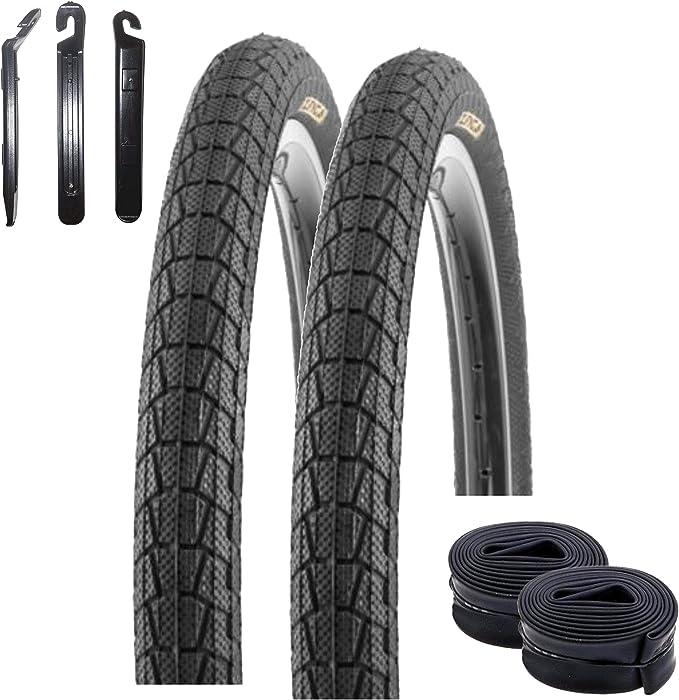 maxxi4you Kenda K-907 Krackpot - Juego de 2 cubiertas para bicicleta de 20 pulgadas (50-406, 20 x 1,95), incluye 2 cámaras AV y 3 desmontadores de neumáticos, color negro: Amazon.es: Deportes y aire libre
