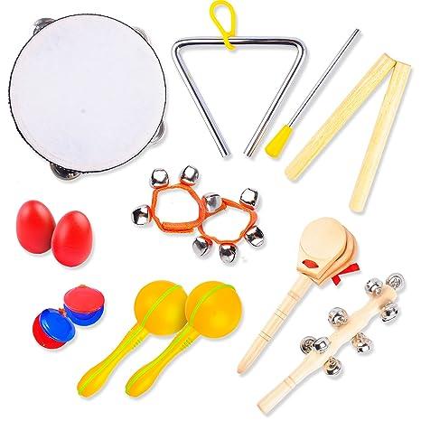 Instrumentos Musicales Infantiles | Juguetes Educativos de Madera Hechos a Mano | Pandereta, Triángulo,