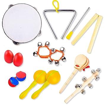 Instrumentos Musicales Infantiles   Juguetes Educativos de Madera Hechos a Mano   Pandereta, Triángulo,