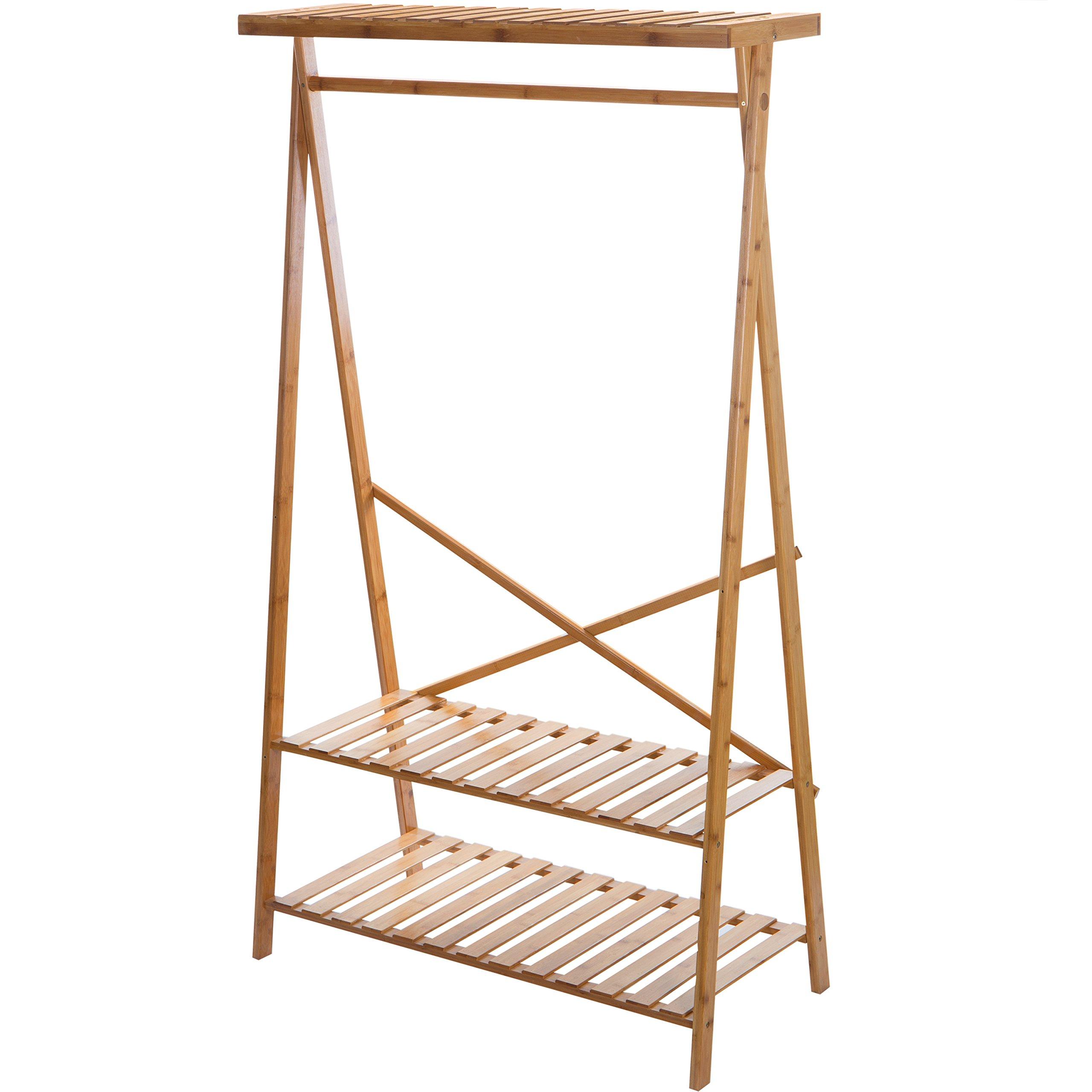 MyGift Natural Wood Freestanding Garment Rack with Shelves