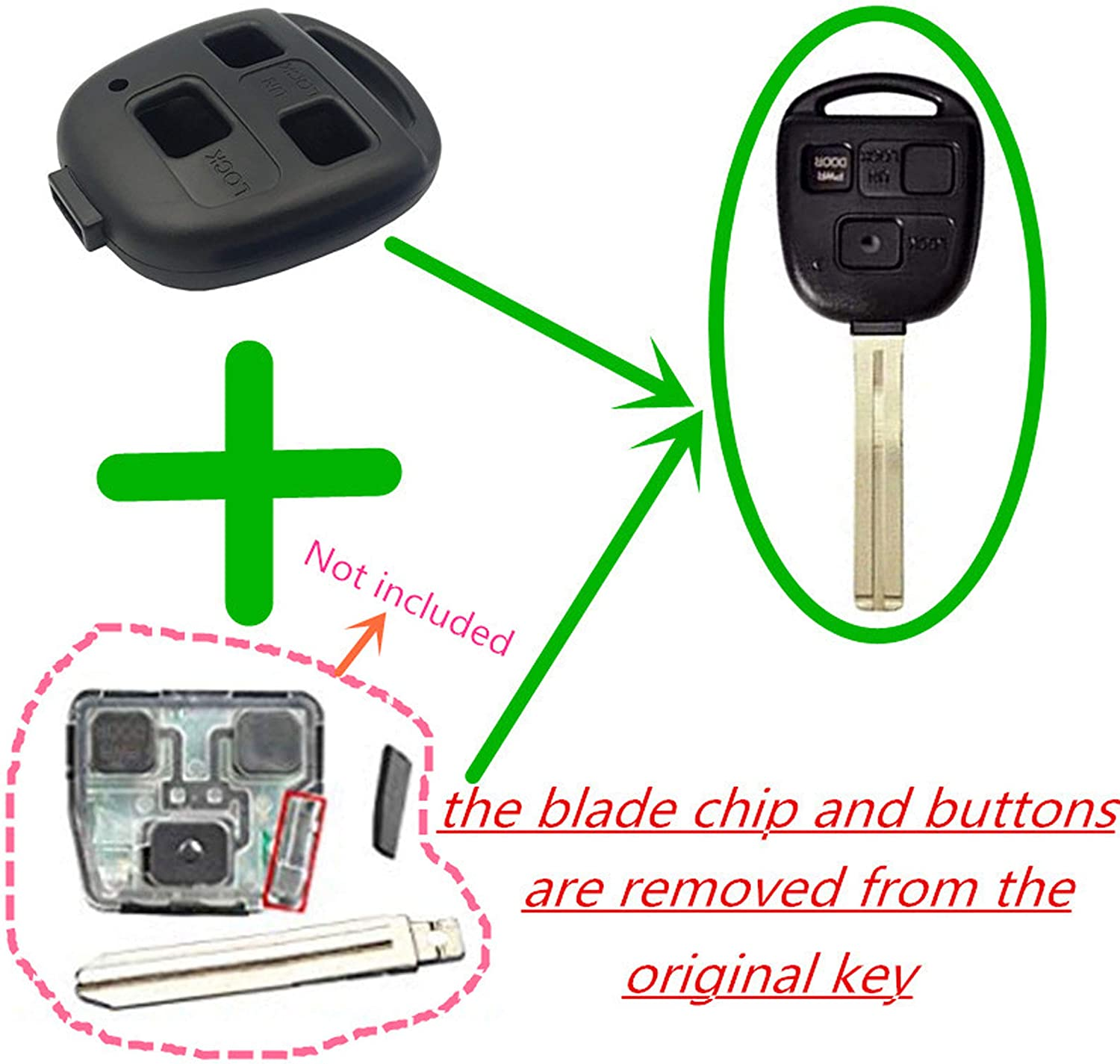 HYQ12BBT, HYQ1512V, 1511A-12BBT BINOWEN Key Shell with Screwdriver Key Fob Case Replacement for Lexus GS300 GS400 GS430 GX470 IS300 LS400 LS430 LX470 RX300 RX330 RX350 RX400h RX450h SC430
