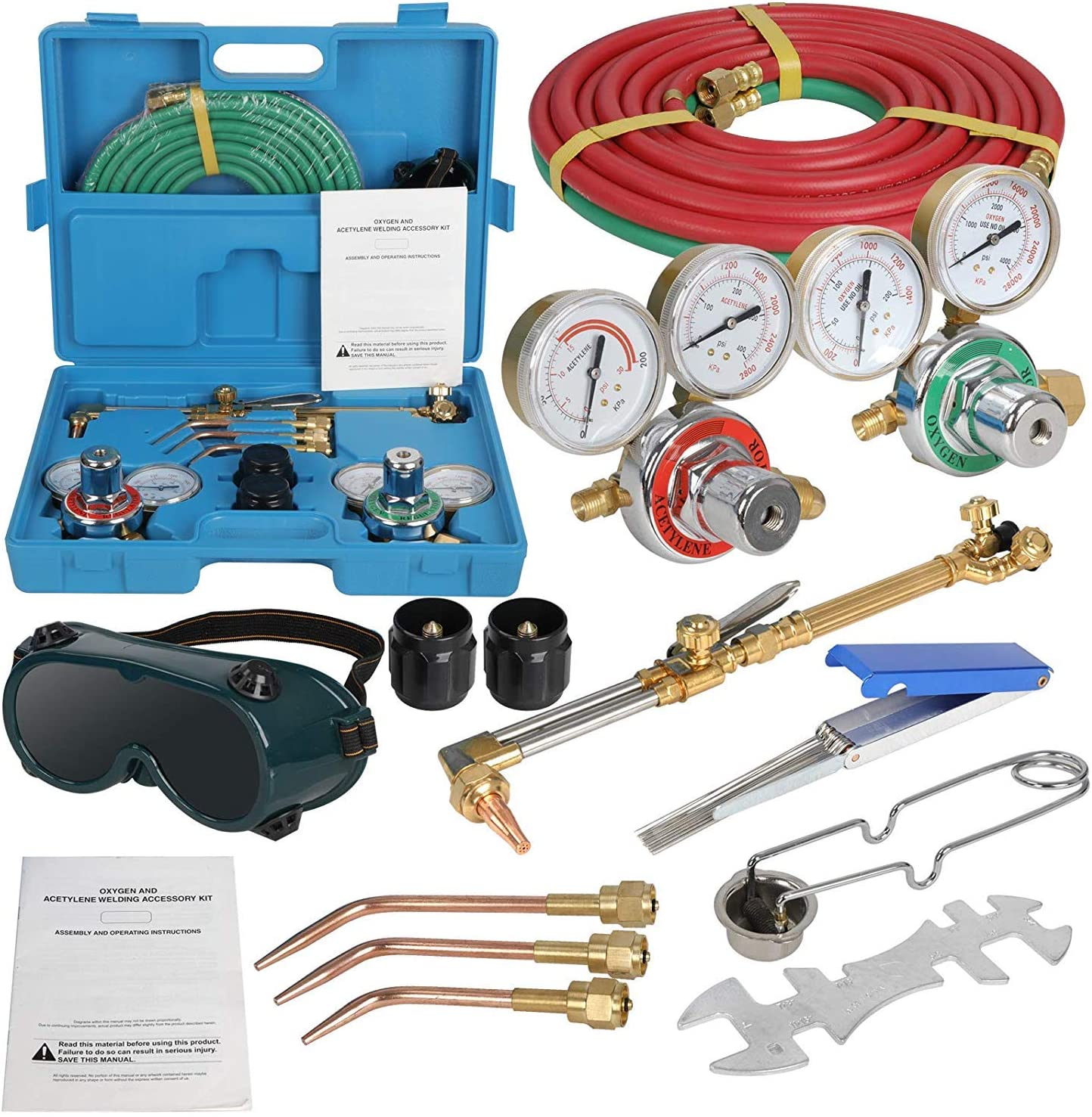 Acetylene Oxygen Weld Welding Cutting Torch Kit w//Gauges /& Goggles /& Hoses