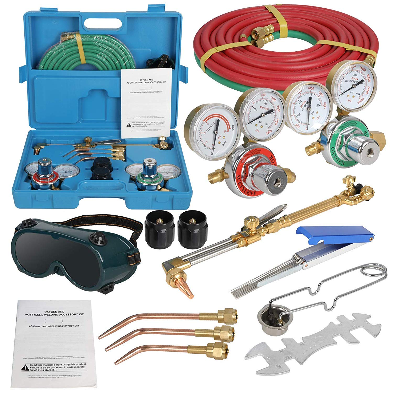 ZENSTYLE Oxygen & Acetylene Gas Cutting Torch and Welding Kit Portable Oxy Brazing Welder Tool Set with Two Hose,Goggles,Regulator Gauges,Storage Case by ZenStyle