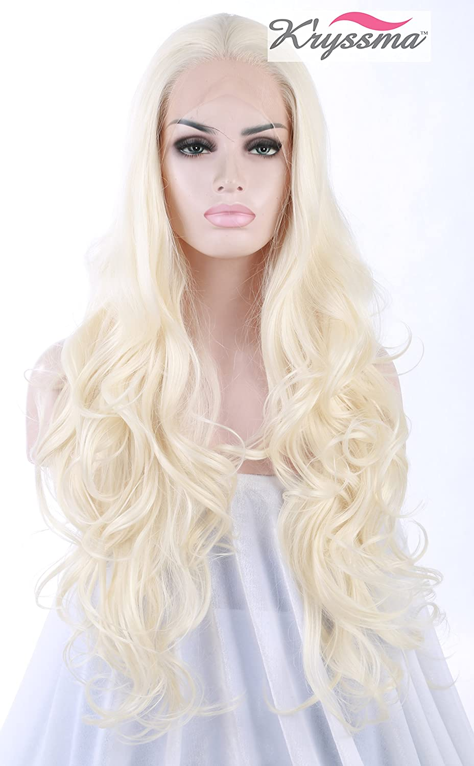 K'ryssma® Fashionable Platinum Blonde Glueless Lace Front Wigs For White Women Cheap Long Wavy Repalcement Full Synthetic Hair Wig For Daily Wear Heat Friendly 24 Inches K'ryssma