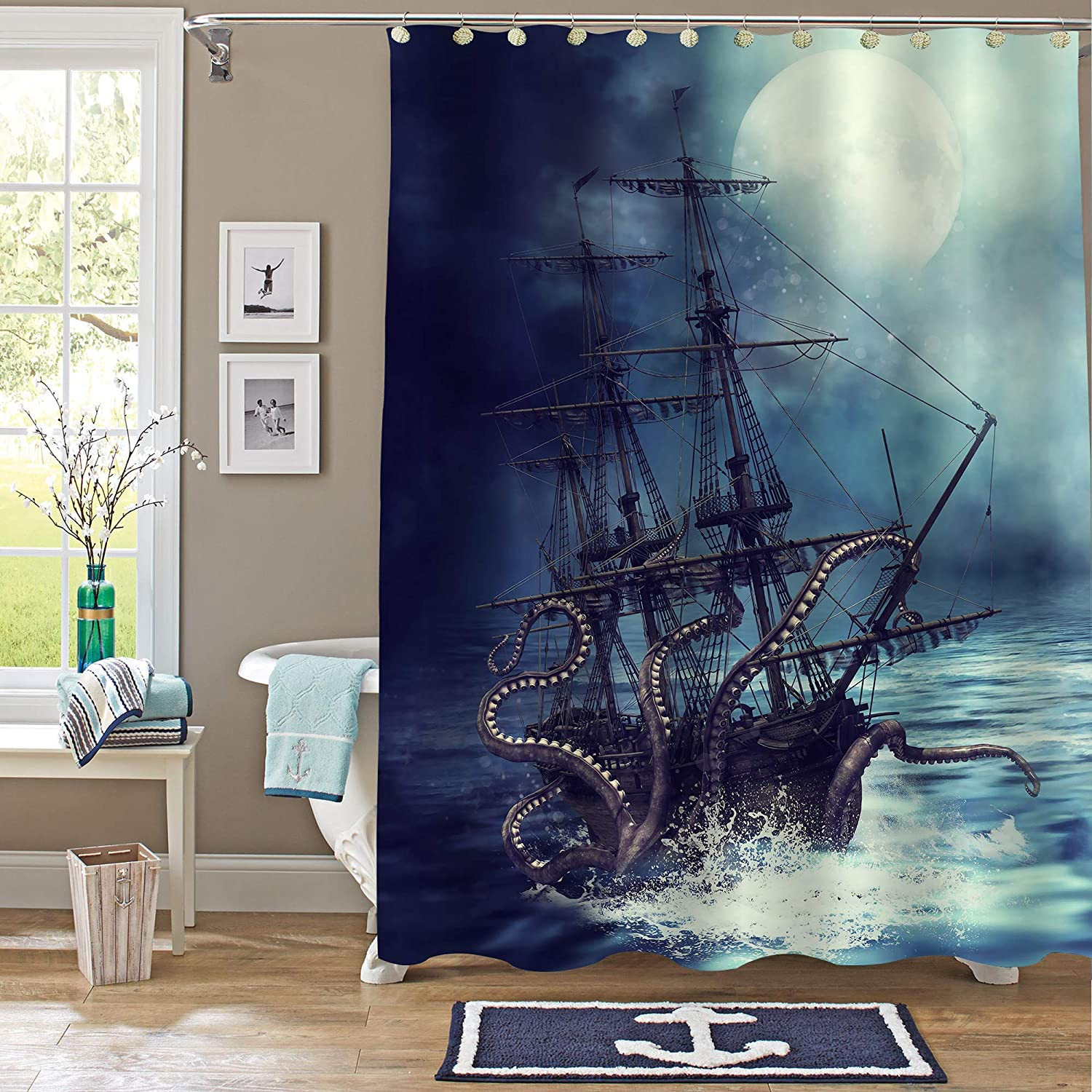 "MitoVilla Nautical Sailboat Shower Curtain Set, Giant Sea Monster Octopus Kraken Attack Pirate Ship Art Print Bathroom Decor for Mens and Boy Ocean Animal Themed Gifts, 72"" W x 72"" L"