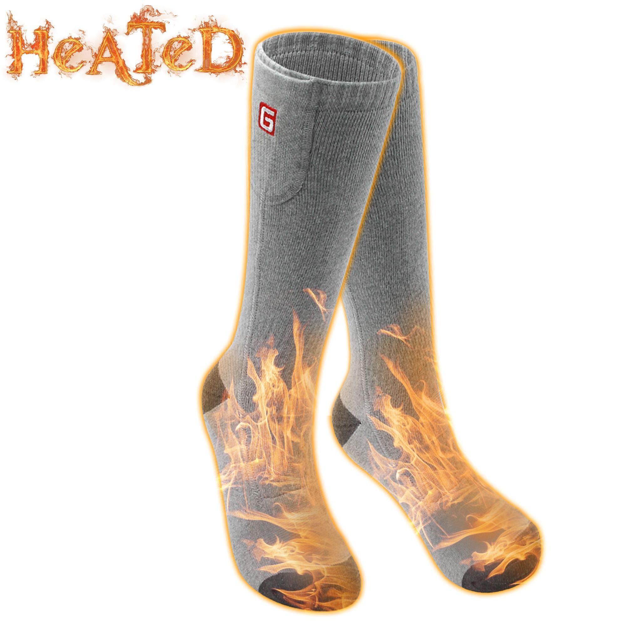 Battery Heated Socks Electric Rechargeable Heat Socks Kit Motorcycle Hunting Skiing Cotton Thick Thermal Socks Battery Powered Warm Sox Foot Warmers for Chronically Cold Feet by Greensha