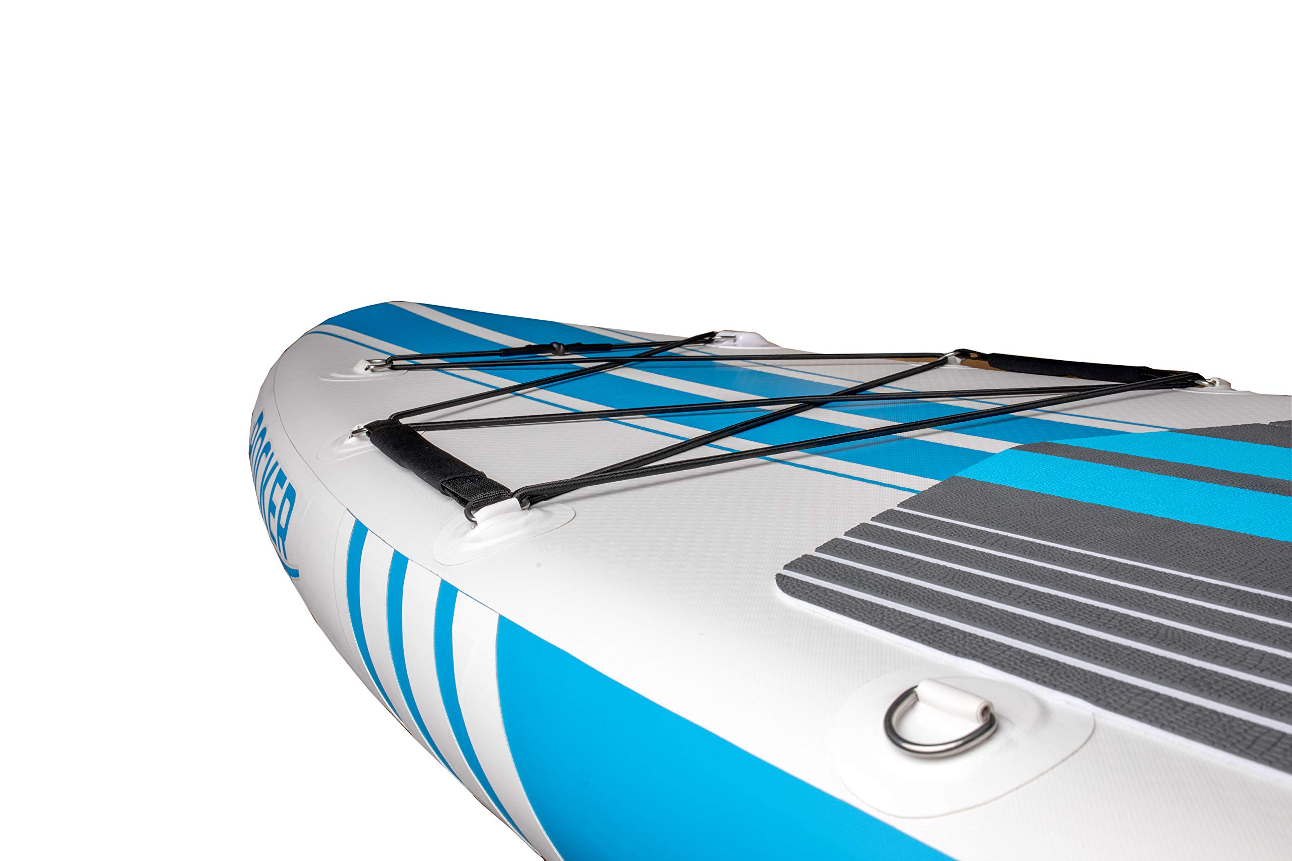 iROCKER All-Around Inflatable Stand Up Paddle Board 11' Long 32'' Wide 6'' Thick SUP Package (White/Blue Stripe 2019) by iROCKER (Image #4)