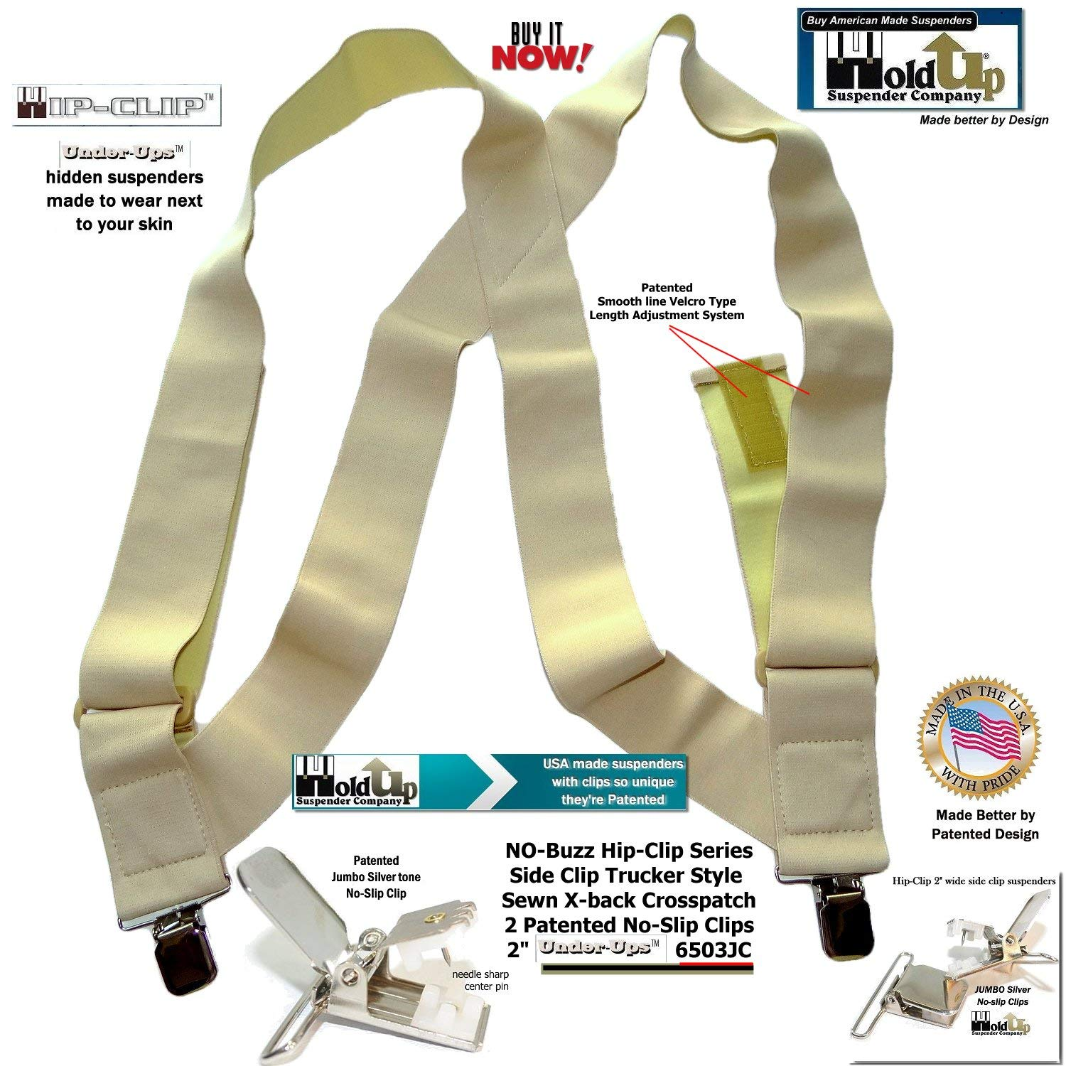 Under-Ups Hip-clip style Suspenders Holdup Undergarment 2 Wide with Metal No-slip Clips Holdup Suspender Company Inc 6503JC
