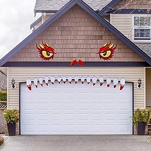 Happy Storm Halloween Garage Door Decorations Monster Garage Door Decoration Halloween Decorations for Garage Door Archway Door Decor Halloween Outdoor Decor Supplies