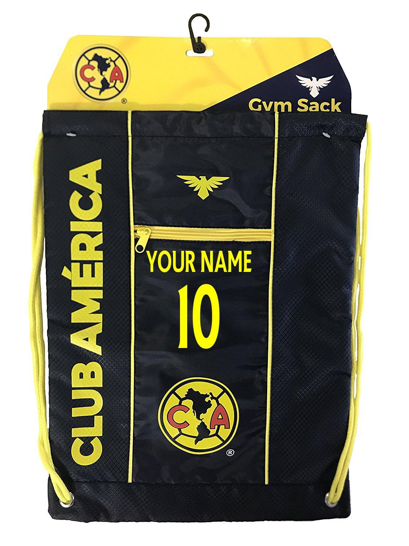 Club America Cinch Bag Sack Mexicoバックパックブックバッグお名前と番号追加 B077P4KN9T ブラック