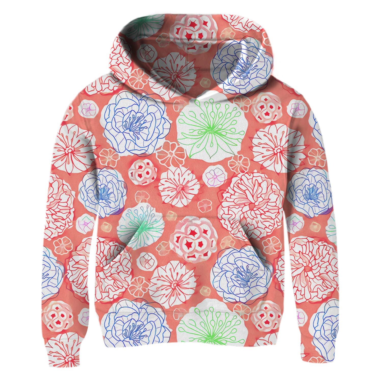 BFUSTYLE Little Girl Preschooler Floral Lightweight Hoodie Go to School Fit Hooded Sweatshirt Coral Red 6t