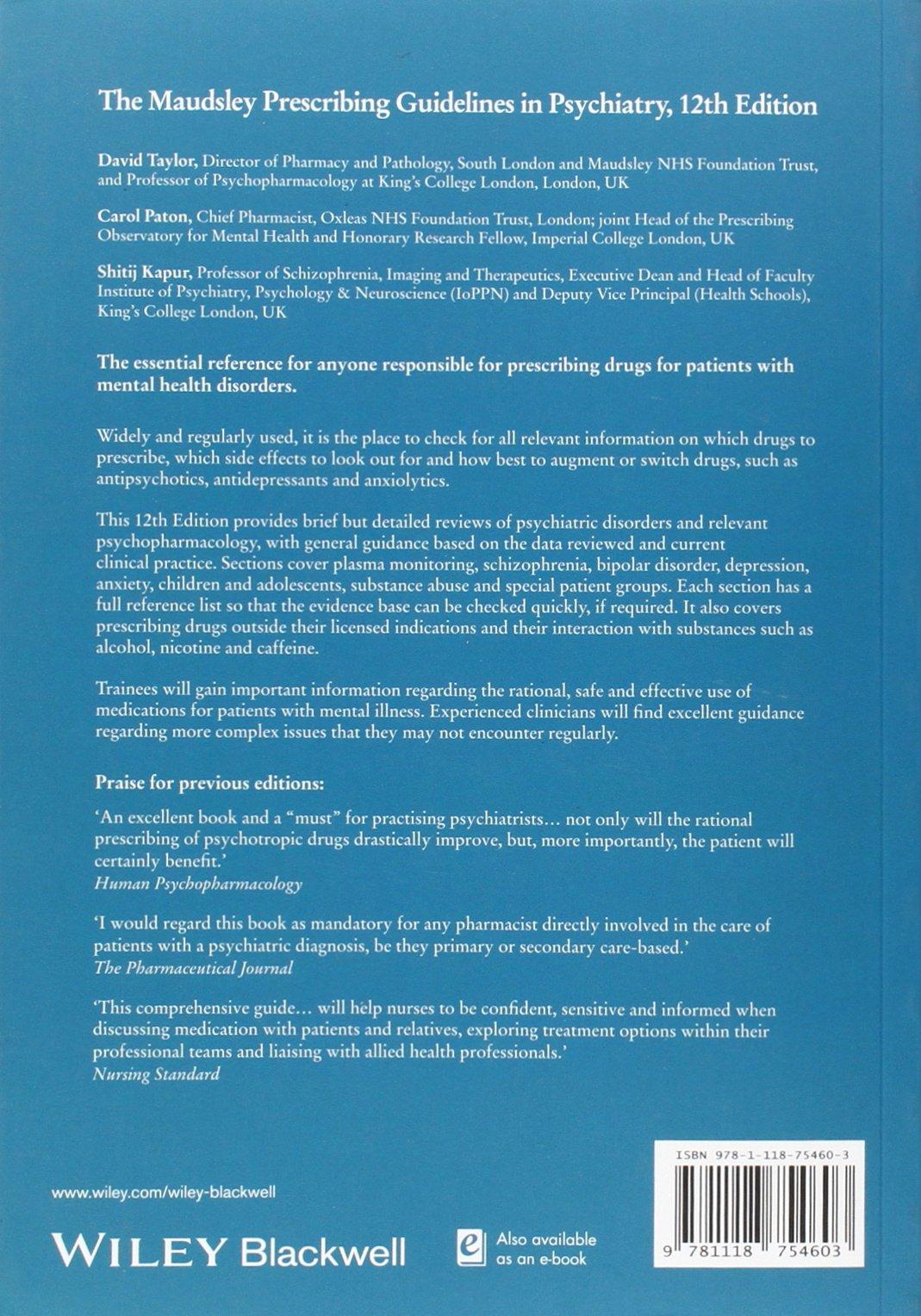 The Maudsley Prescribing Guidelines In Psychiatry 11th Edition Pdf
