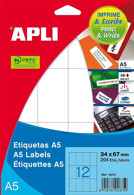 Etiquetas autoadhesivas multiuso Apli 581869 color blanco A5