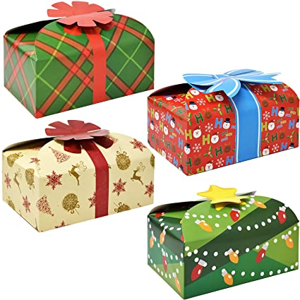 3d christmas cookie boxes with bows holiday candy treat goody paper boxes and bags party