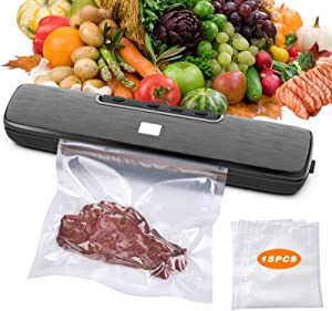 Vacuum Food Sealer Automatic Sealing Machine One-Touch Sealing/Vacuum for Dry & Wet food Fresh Preservation with 15Pcs BPA-Free Seal Bags