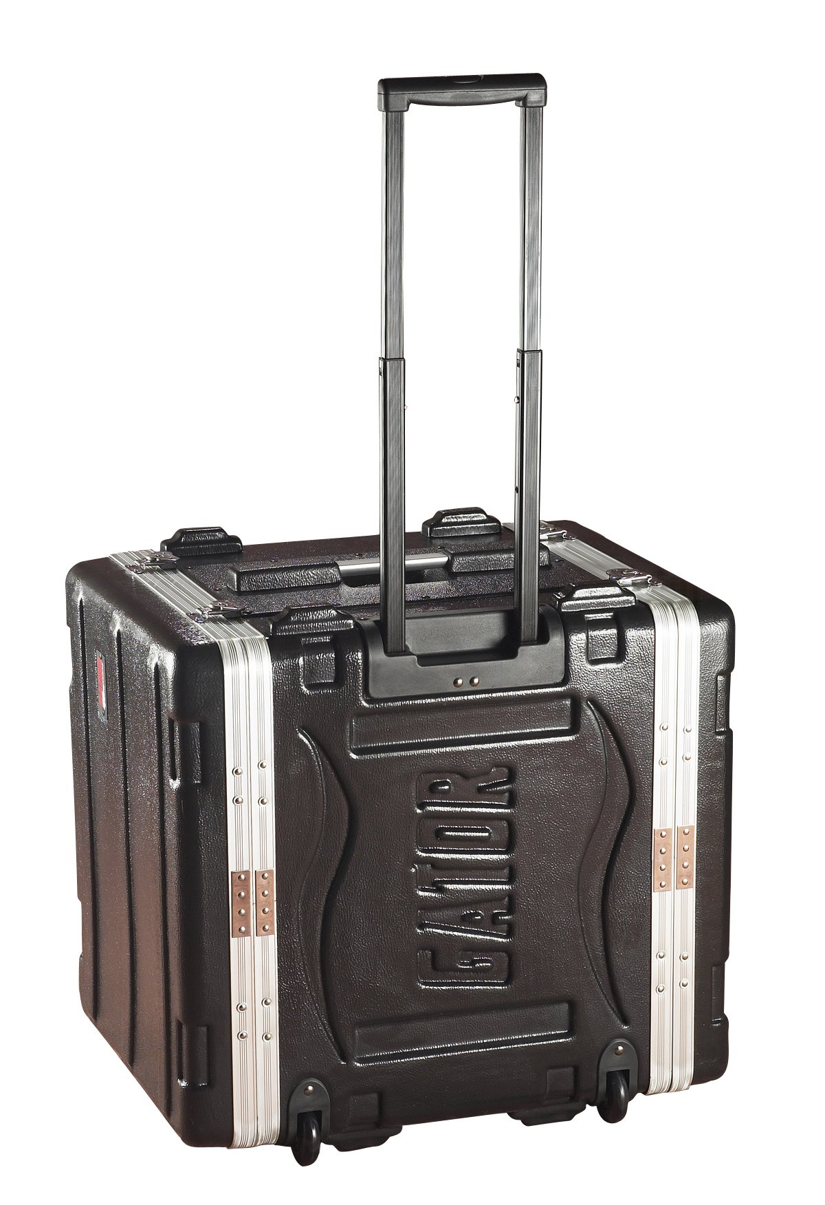 Gator Cases Lightweight Molded 4U Rack Case with Built-in Power Supply, Heavy Duty Latches, Retractable Tow Handle, and Recessed Wheels; 19.25'' depth, 10U (GRR-10PL-US)