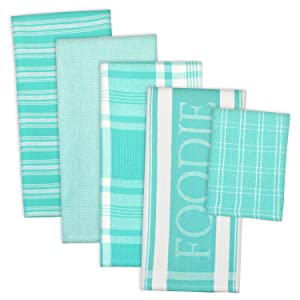"DII Assorted Decorative Kitchen Dish Towels & Dish Cloth Foodie Set, Ultra Absorbent for Washing and Drying (Towels 18x28"" & Cloths 13x13"") Aqua, Set of 5"