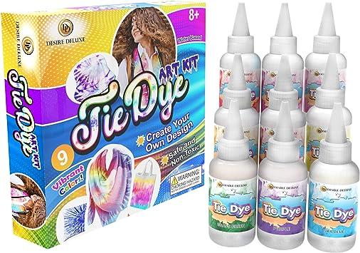 Desire Deluxe - Kit de tintes de 9 Colores para teñir Tela y Ropa Tie Dye Kit - Actividad Creativa y artística para niños y Adultos