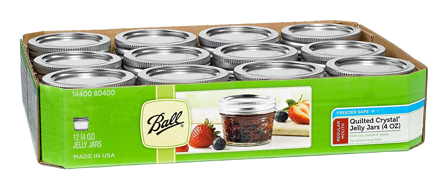 Jarden 4-Ounce Mason Canning Jars, 12-Pack Ball GL56748135X12