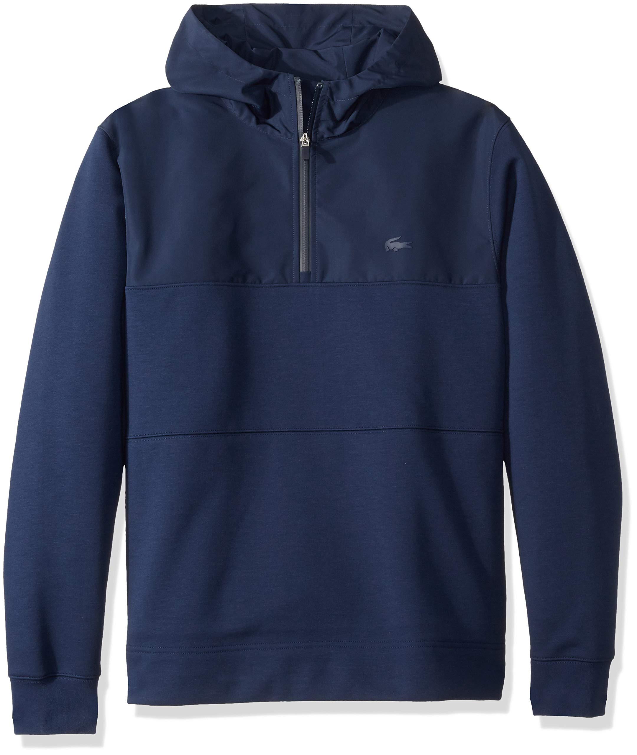 Lacoste Men's Long Sleeve Double Face Colorblock Hooded Sweatshirt, Blue/Navy, 4X-Large