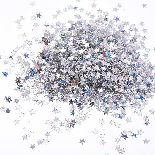 100 Gramos Confeti de Estrellas Lentejuelas de Estrellas Brillantes para Manualidades Arte de Uñas y Decoración de Fiesta, Plateado Holográfica: Amazon.es: ...