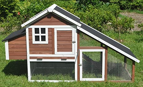 ChickenCoopOutlet 78u0026quot; Large Wood Chicken Coop Backyard Hen House 4 6  Chickens With Nesting