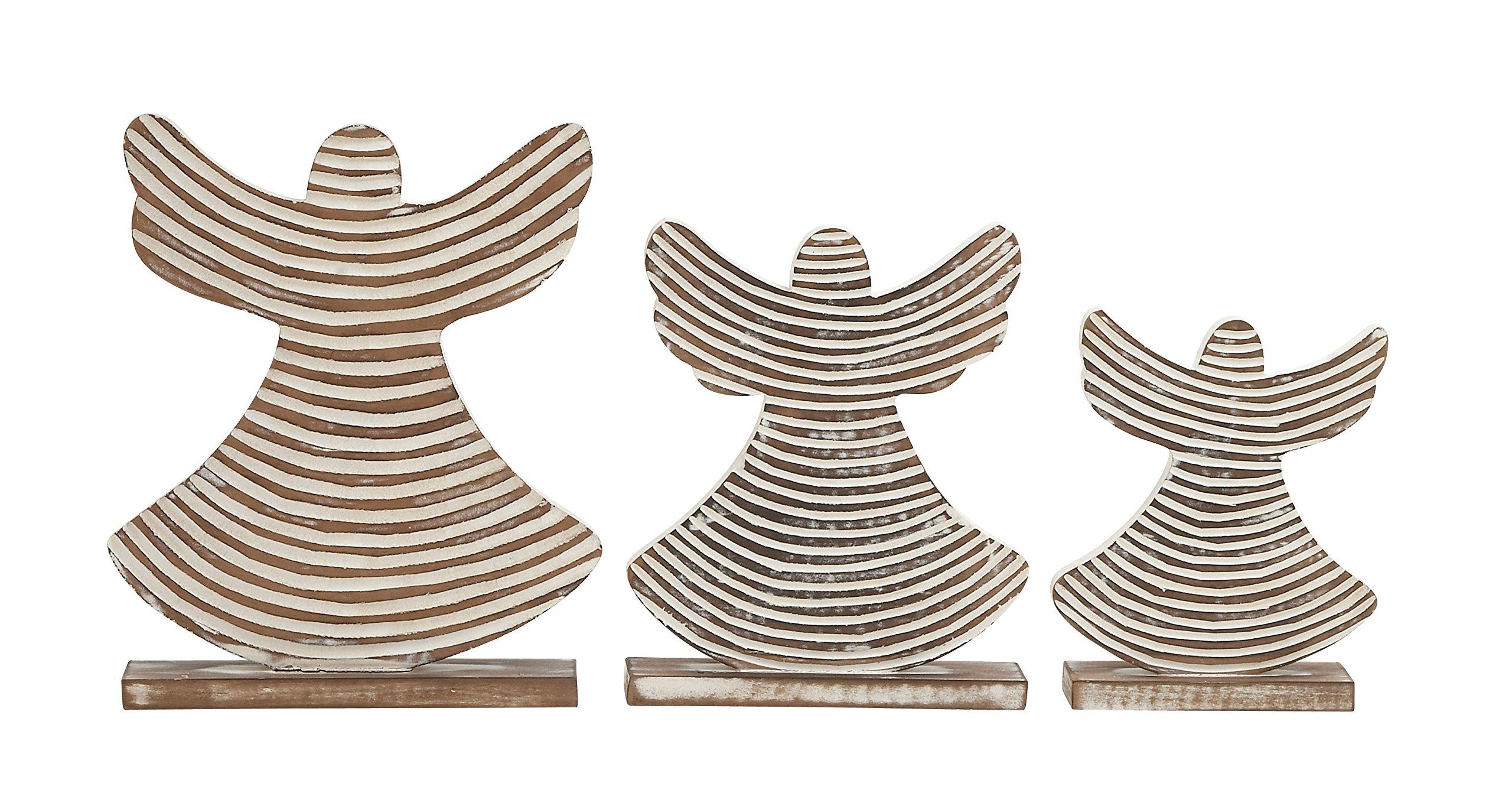Plutus Brands UE5116 Lovely Wood Angel (Set of 3)