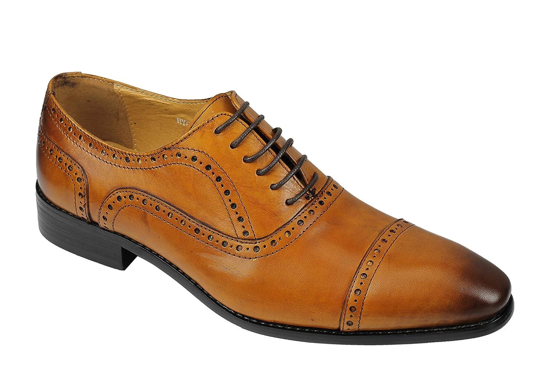 TALLA 40 EU. Xposed Zapatos de Cordones de Piel para Hombre Marrón Marrón